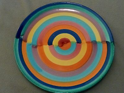 """Vintage Round ITALIAN PLATTER Plate Italy 530 Hand Painted Colorful Rainbow 12"""""""