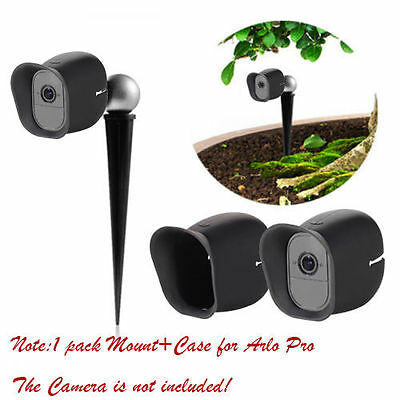 1X Golf Ground Stake Swing Recording Mount+ Black Silicone Skin For Arlo Pro (2)