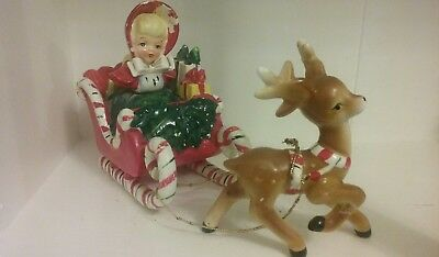 Lefton Geo Z 1956 Christmas Shopper Girl in Candy Cane Sleigh with Reindeer
