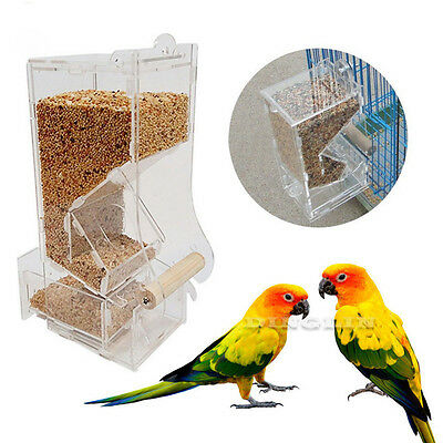 Acrylic Pet Supply Bird Seed Food Feeder For Parrot Cockatiel Canary Cage Toy