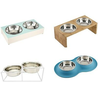 Elevated Twin Pet Bowl Dog Cat Feeder Food Water Raised Lifted Stand Double Pair
