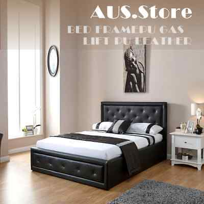 Bed Frame Gas Lift Pu Leather White /black Colour Double Queen King Single Size