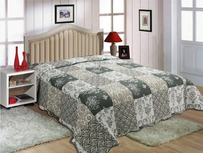 Patchwork Fully Quilted Quilts Bedspread Bed Coverlets Cover Queen King Size