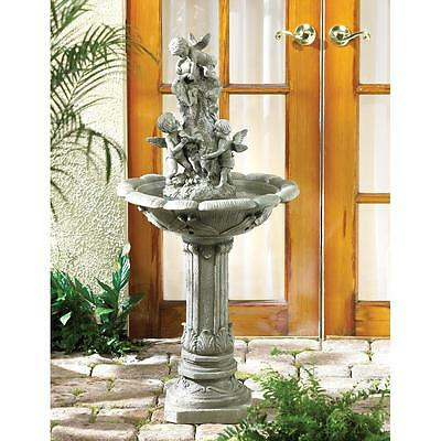 Playful Cherubs Outdoor Water Fountain With Pump, Garden Fountain, Garden Decor