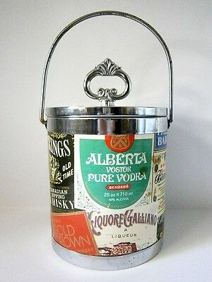 Collectable Vintage Barware Alcohol Brand Liquor Labels Ice Bucket