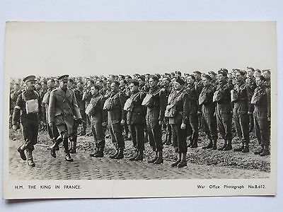 Cpa Carte Photo Gb Ww2 Anglais Bef 1939 Dunkerque 1940 H.m. The King In France