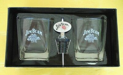 Two Jim Beam Glasses With Jim Beam Bottle Pourer Boxed Set Never Used