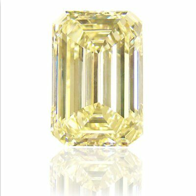 Nice  5.74 ct 10.95 x 9.70 mm VS1 Fancy Yellow Emerald Cut Loose Moissanite AUD