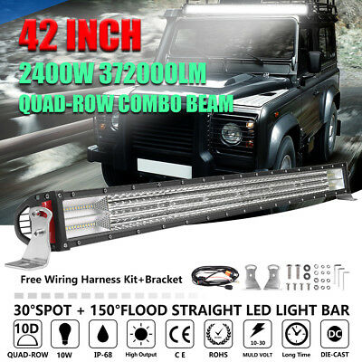 42inch 2400W Cree LED Work Light Bar Spot Flood Combo Offroad Driving Lamp 4WD