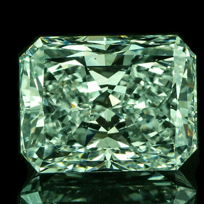 Nice  4.23 ct 10.70 x 8.70 mm VS1 Fancy Green Radiant Cut Loose Moissanite AUD