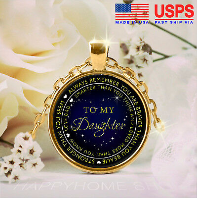 Father and Daughter Necklace Gift for Daughter Loved more than you know Love Dad