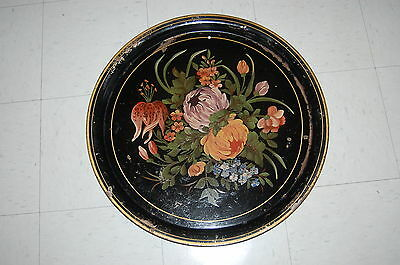 """HUGE Vintage Tole Painted 24 1/2 """" ROUND TRAY"""