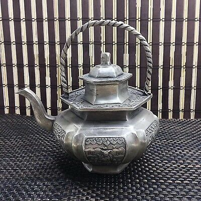 China Decorated Old Handwork white copper Carved man Shape TeaPot Hip flask