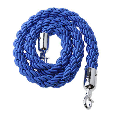 Blue Queue Divider Control Stanchion Barrier Posts Twisted Rope 1.5m Long