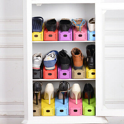 Mulit-Colors Plastic Storage Shoe Organizer Box Stackable Tidy Holder Save Space