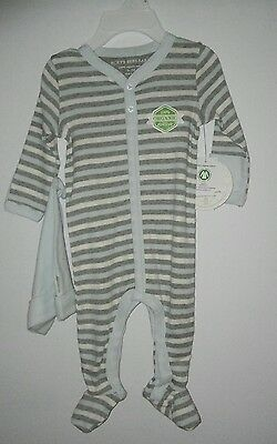 Boys Burt's Bees Organic Cotton Sleeper & Hat Set Size 0 3 Months NEW