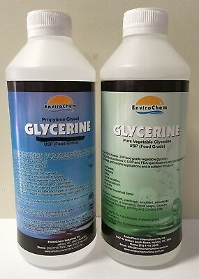 1L Propylene Glycol  & 1L VG 100% Vegetable Glycerine USP Food Grade COMBO