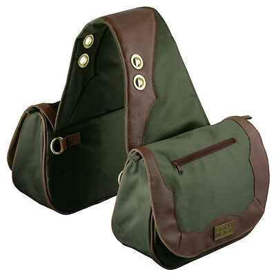 TrailMax Sun River Collection Horse Saddle bag, Pack bag, green brown