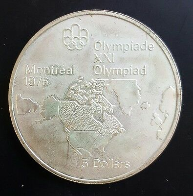 1973 Canada $5 Silver Coin Summer Olympic Games (Map North America) UNC...