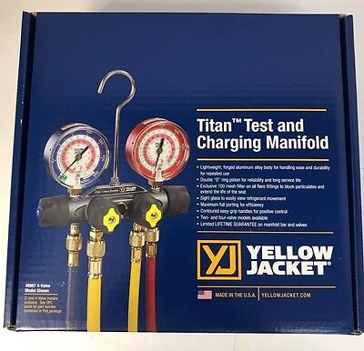 "Yellow Jacket 49967 - TITAN Manifold, 3-1/8"" Gauges, w/Hoses, R22/404A/410A"