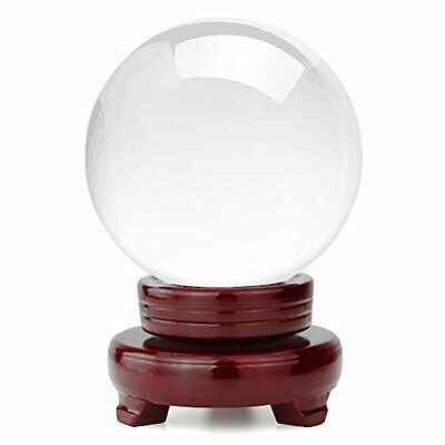HBlife Clear Crystal Ball 6 Inch 150mm Including Wooden Stand and Gift Package