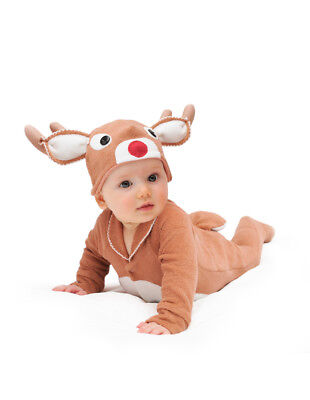NEW Lil' Red-nosed Christmas Baby Reindeer Costume Cotton 000-2yrs Halloween G