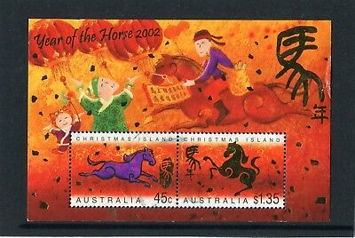 2002 Christmas Island Year Of The Horse Mini Sheet Fine Postal Used