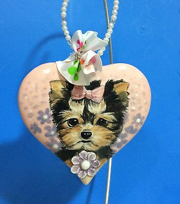 Cute Yorkie terrier artist hand made ceramic ornament gift Christmas ooak