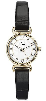 Limit Ladies Gold Plated Date Watch White Dial Black PU Croc Strap 6948
