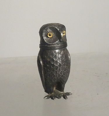 Antique Vintage Silver or Silverplate Owl Shaker German Style Cast