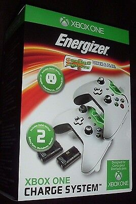 Xbox One Energizer 2X WHITE Charging System Dock Cradle x2 Batteries Packs NEW