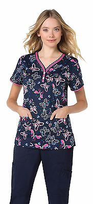 Medical Nurse, Vets Scrub Top/Tunic Uniform -Koi Kayla - Butterfly Sprinkles- S