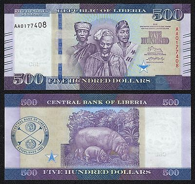 LIBERIA 500 Dollars 2016    - UNC  - Pick New 2016