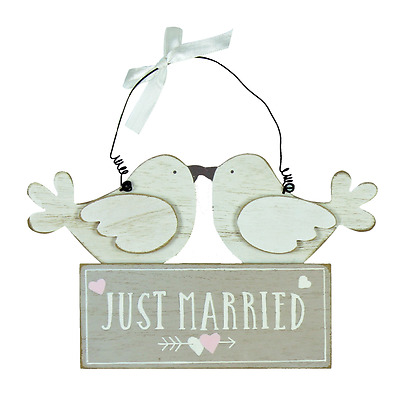 Love Story Love Birds Wooden Plaque Sign Just Married Wedding Gift Present