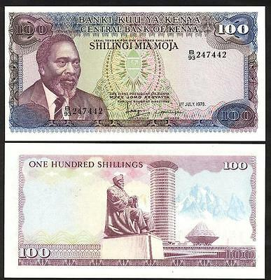 KENYA 100 Shillings 1978 - UNC - Pick 18