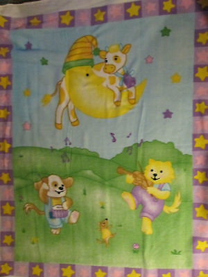 Cow Jumped Over The Moon Cats Dogs Music Fleece Fabric Panel Oop