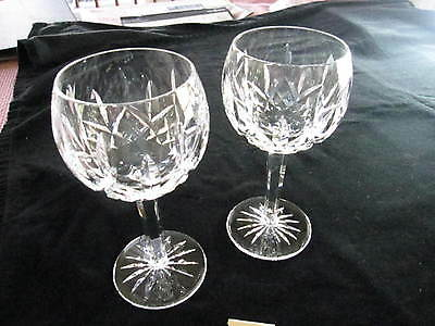 """Pair Waterford Lismore Balloon Wine, 7 1/4""""H, Excellent Condition"""