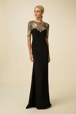 6a99538aebc2 Marchesa Notte Black Stretch Silk   Tulle Gown Gold Embroidered  1295 NWT  ...