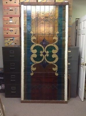 """LARGE Victorian  Antique Stained Glass Window 44"""" x 93"""""""