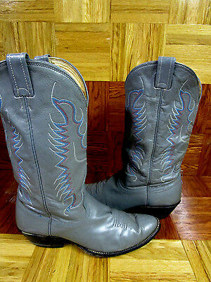 Nocona Women's Gray Leather Western Boots Size 10 D