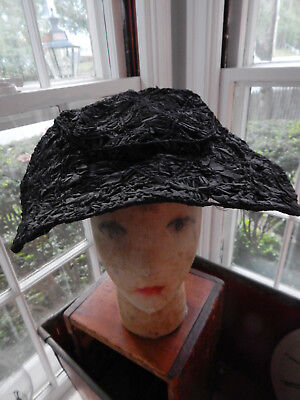 Rare Antique Victorian Edwardian Hat All Ribbon Work Flowers Attic Find ID'd