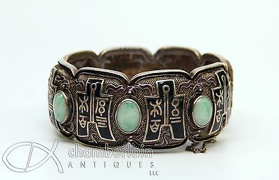 Vintage Old Chinese Silver Bracelet With Enamel And Jade