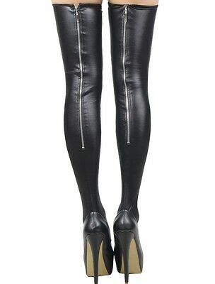 Black Faux Leather Wet Look Zip Up Stocking Stage/Dance Wear One Size