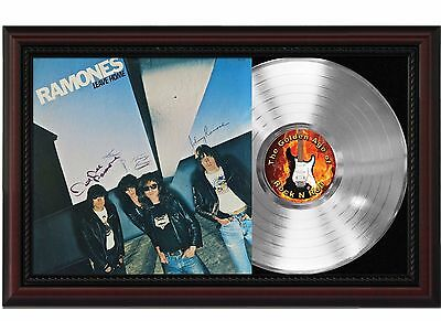 Ramones - Platinum LP Record With Reprinted Autographs In Cherry Wood Frame