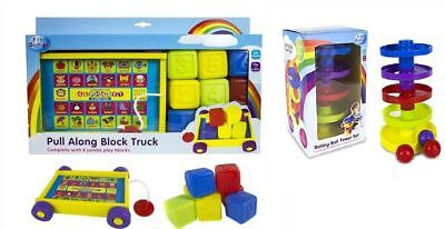 New Childrens Pull Along Block Truck Baby's Play Blocks Rolling Ball Tower Set