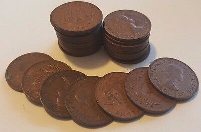UK OLD 1/2 Pence Coin, 1942 - 1967 . Half penny choose year, lucky Penny gift