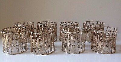 8 Vintage 830 Silver Filigree Napkin Rings -  Total Weight Approx. 120 Gram