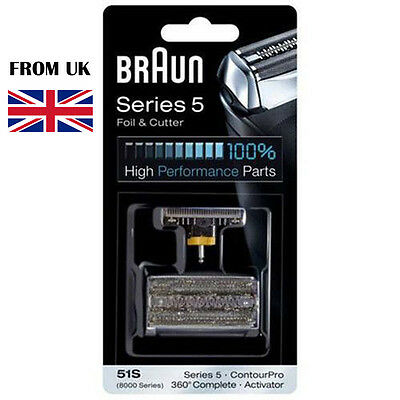 BRAUN 51S 8000 Series 5 Mens Shaver Foil + Cutter Head Replacement Pack Cassette