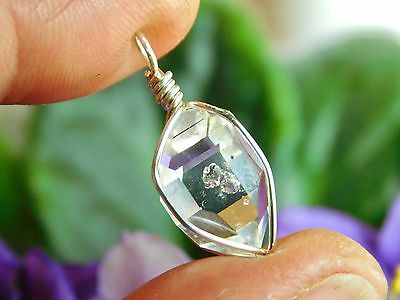 A+ GRADE NATURAL 9x25 mm NY Herkimer Diamond DT Crystal Silver Pendant T2