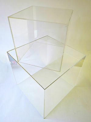 Acrylic Cubes 5 Sided Open 1 End 4 Sizes 100mm, 200mm, 300mm, 400 & 500mm